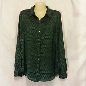 The Limited Navy Blue Green Print Silky Blouse Top